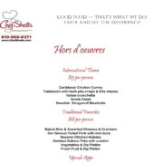 Chef Shells Restaurant and Catering - Catering Menu